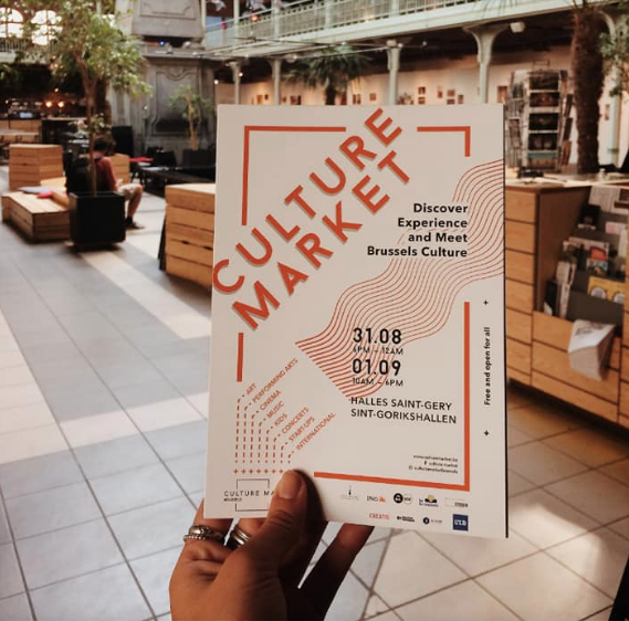 First edition of the Culture market in Brussels , Halles St gery