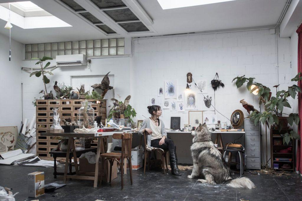 Artist Fia Cielen in her studio in Antwerp Belgium